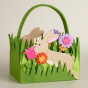 Large Leaping Bunny Felt Easter Basket