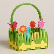 Small Flower and Grass Felt Easter Basket