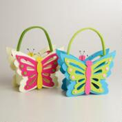 Large Butterfly Felt Easter Basket, Set of 2