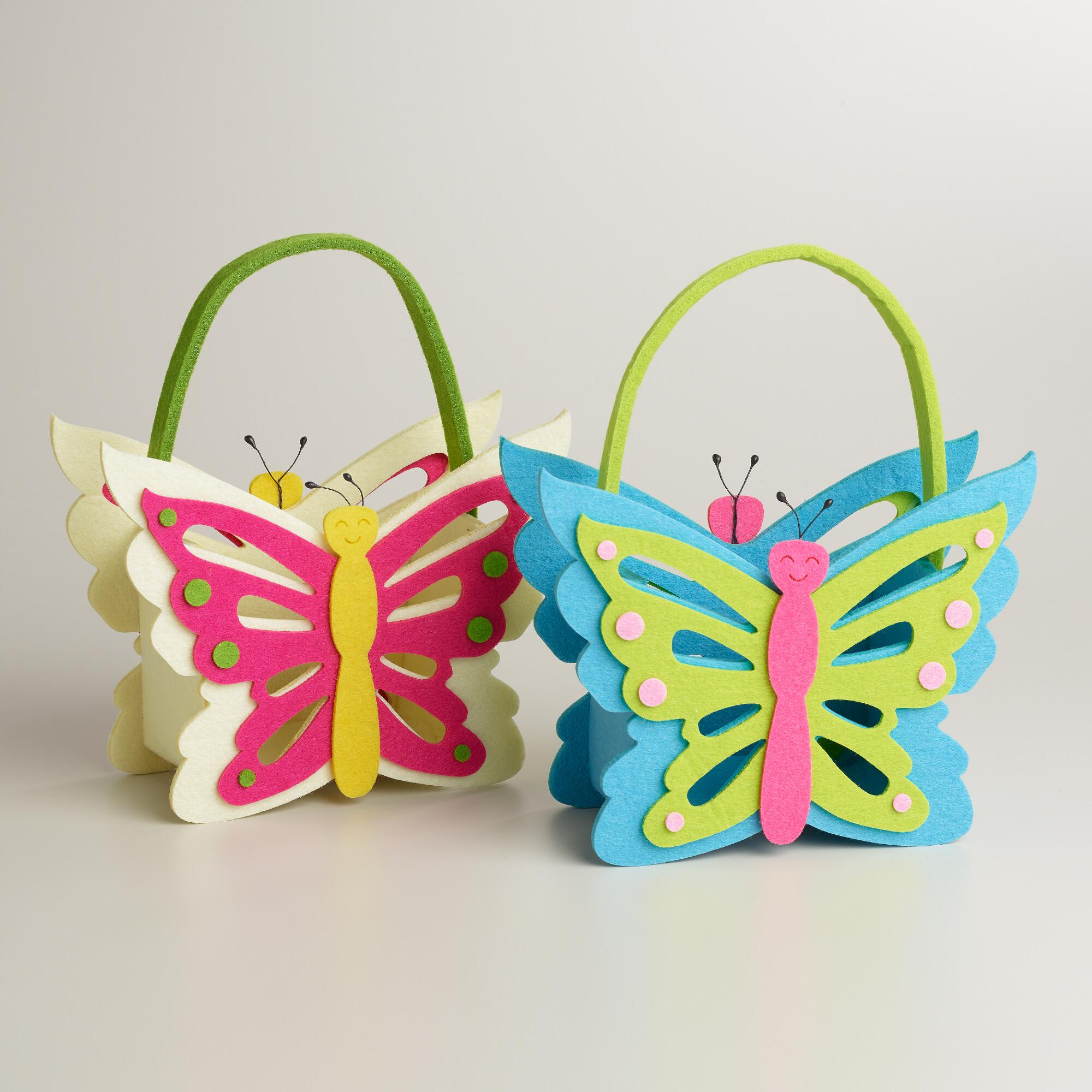 Large Butterfly Felt Easter Basket, Set of 2 | World Market