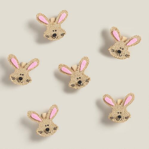 Burlap Bunny Clips, Set of 6
