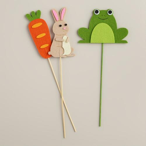 Carrot, Frog and Bunny Felt Gift Toppers, Set of 3
