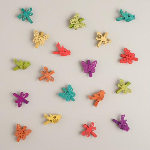 Bird, Butterfly and Dragonfly Wood Clips, 18 - Count