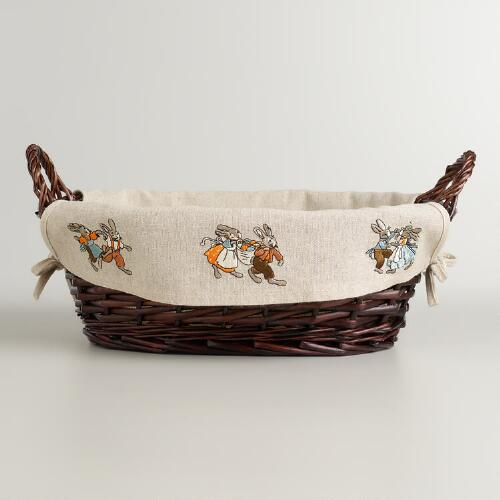 Easter Linen-Lined Willow Serving Basket