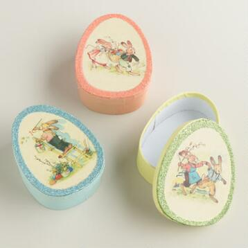 Vintage Bunny Egg-Shaped Boxes, Set of 3