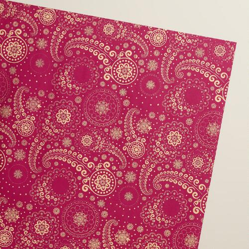 Gold and Pink Paisley Handmade Wrapping Paper Rolls, 3-Pack