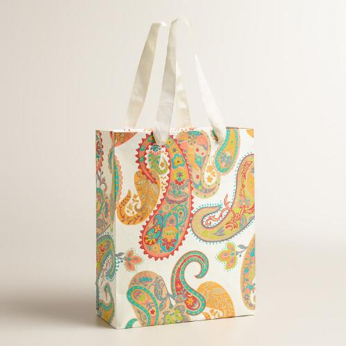 Large Paisley Handmade Gift Bags, Set of 2