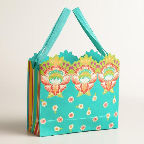 Large Turquoise Bettina Handmade Gift Bags, Set of 2
