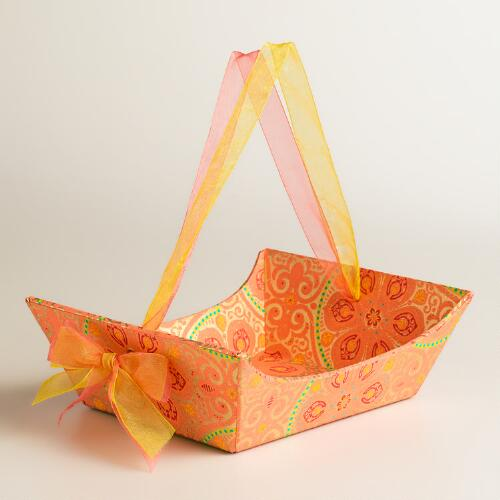 Small Red Nomad Tiles Handmade Paper Gift Basket