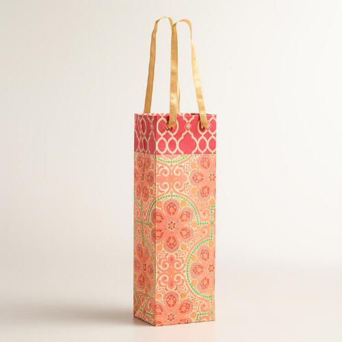 Red Nomad Tiles Handmade Wine Gift Bags, Set of 2