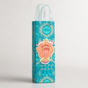 Blue Floral Bungalow Print Handmade Wine Bag