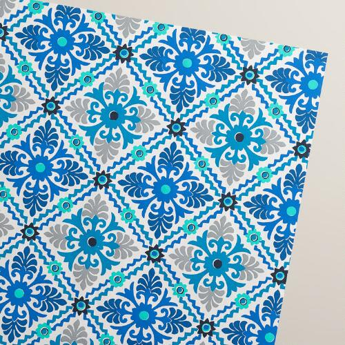 Blue Barcelona Tiles Handmade Wrapping Paper Rolls, 3-Pack
