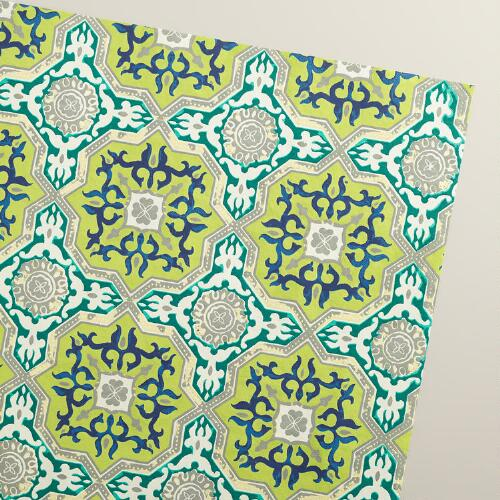 Green Sufi Tiles Wrapping Paper Rolls, 3-Pack