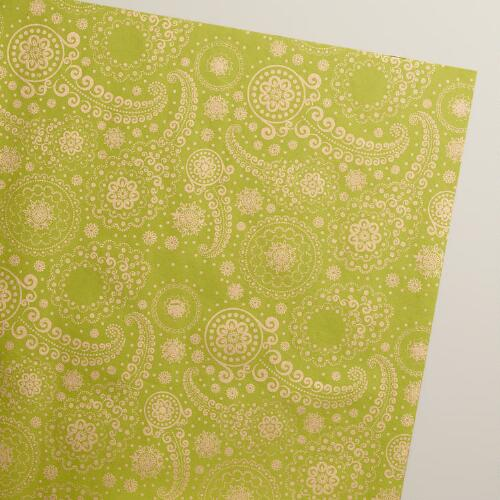 Gold and Green Paisley Handmade Wrapping Paper Rolls, 3-Pack