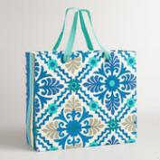 Extra-Large Blue Barcelona Tiles Handmade Gift Bag
