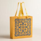 Large Yellow Laser-Cut Handmade Gift Bags, Set of 2