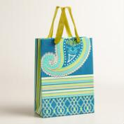 Large Blue Paisley Handmade Gift Bag, Set of 2