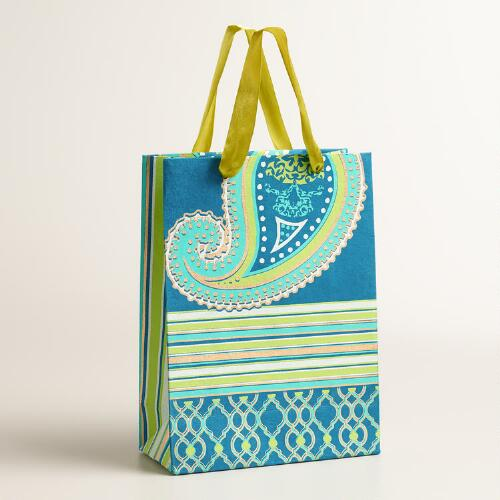 Large Blue Paisley Handmade Gift Bags, Set of 2