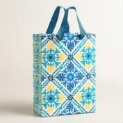 Large Blue Barcelona Tiles Handmade Gift Bag, Set of 2