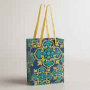 Small Yellow and Blue Medallion Handmade Gift Bag, Set of 2