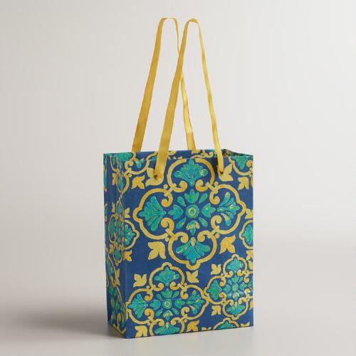 Small Yellow and Blue Medallion Handmade Gift Bags, Set of 2