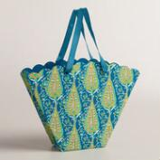 Small Yellow and Blue Fan Handmade Gift Bags, Set of 2