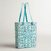 Small Turquoise Tiles Handmade Gift Bag, Set of 2