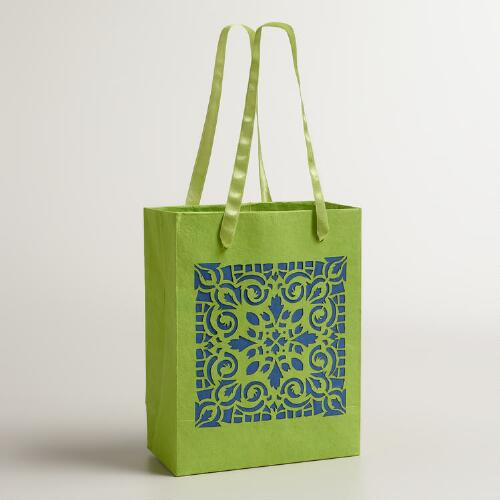 Small Green Laser-Cut Handmade Gift Bags, Set of 2