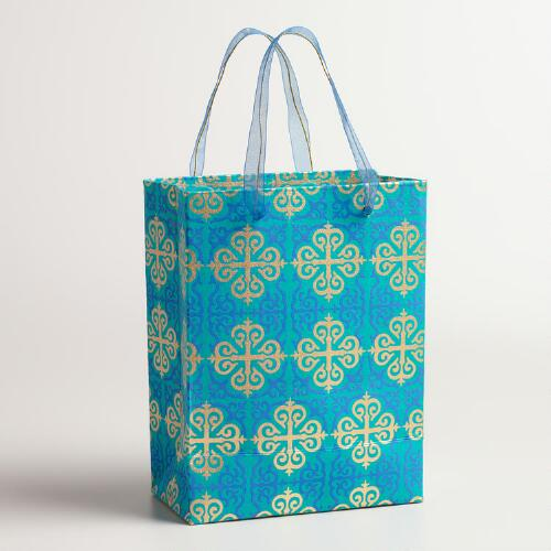Small Gold Lattice Handmade Gift Bags, Set of 2