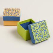 Green and Yellow Handmade Jewelry Boxes, Set of 2