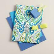 Green and Turquoise Geometric Print Handmade Fabric Box