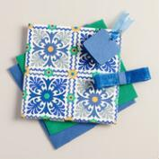 Blue Barcelona Tiles Handmade Fabric Box