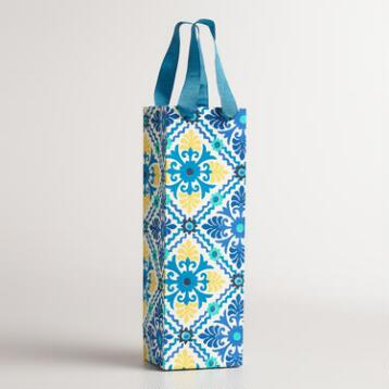 Blue Barcelona Tiles Handmade Wine Gift Bag