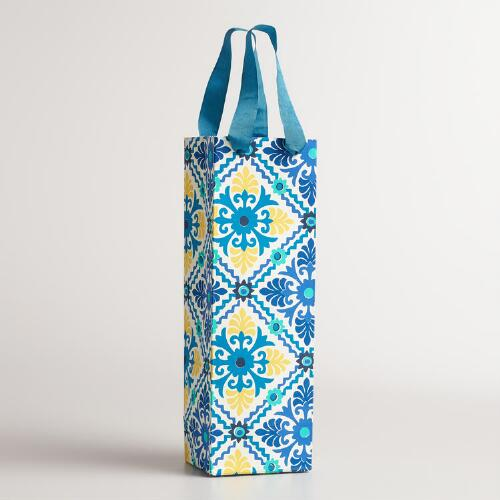 Blue Barcelona Tiles Handmade Wine Gift Bags, Set of 2