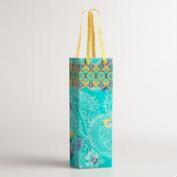 Yellow and Turquoise Overlay Print Handmade Wine Bag