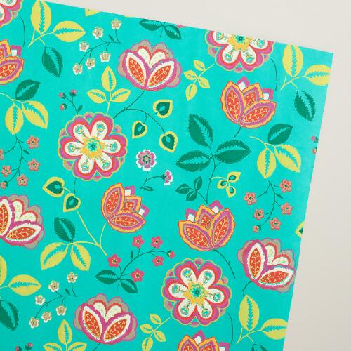 Turquoise Louisa Handmade Wrapping Paper Rolls, 3-Pack