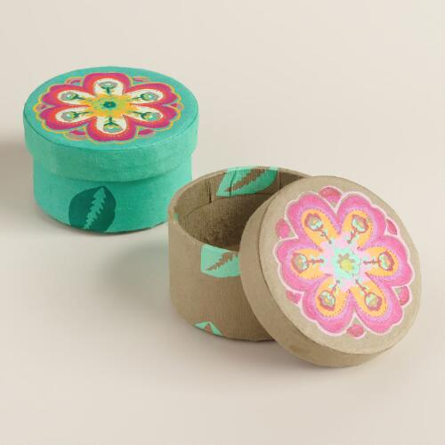 Small Round Louisa Fabric Jewelry Boxes, Set of 2