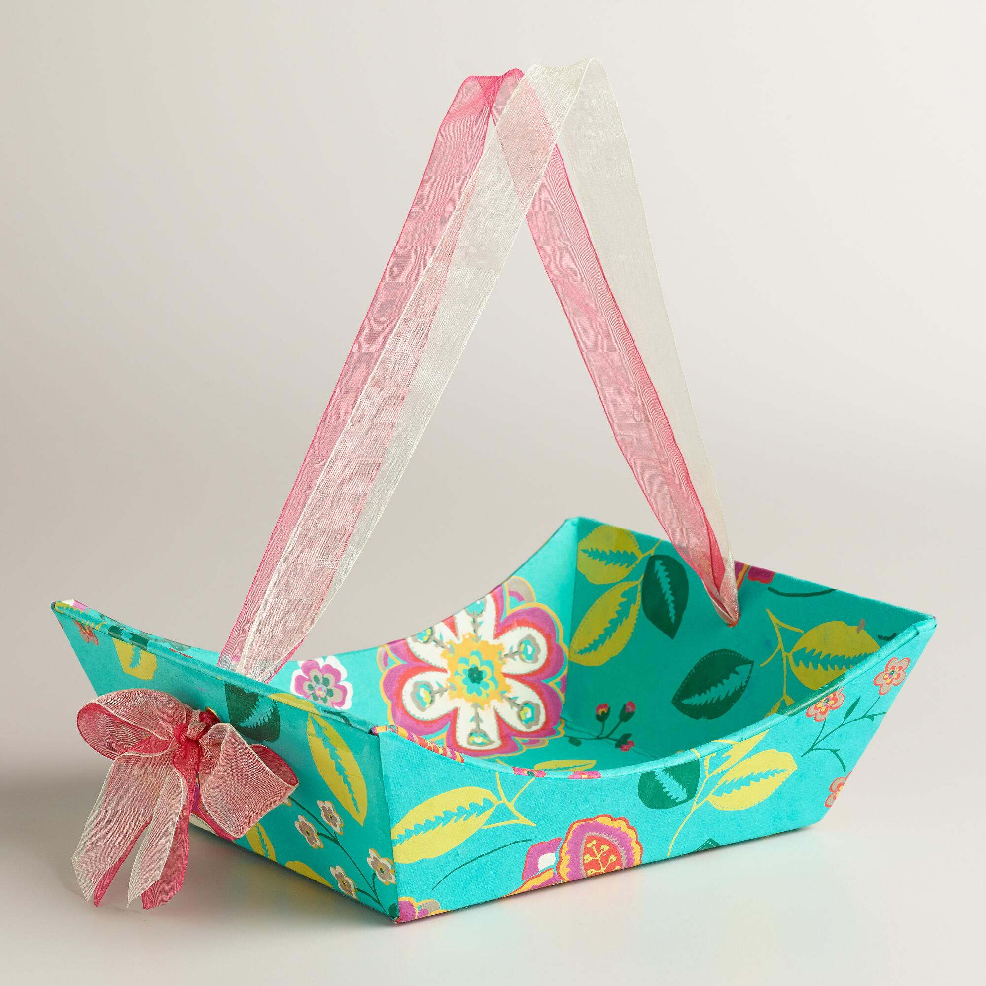 Handmade Basket Gifts : Small floral louisa handmade paper gift basket world market