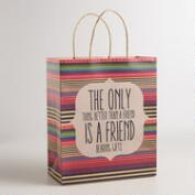 Large Stripe Friends Kraft Gift Bag, Set of 2