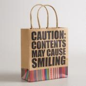 Small Caution Kraft Gift Bags, Set of 6