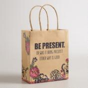 Small Be Present Kraft Gift Bag, Set of 6