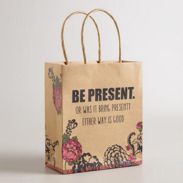 Small Be Present Kraft Gift Bags, Set of 6