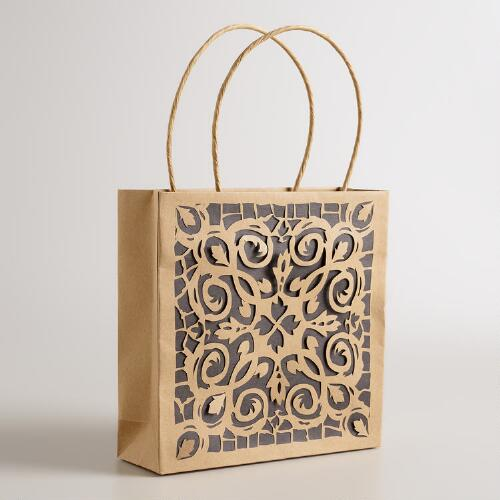 Medium Die-Cut Kraft Gift Bags, Set of 2