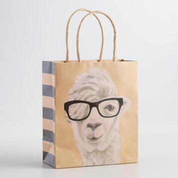 Small Llama Kraft Gift Bag, Set of 6