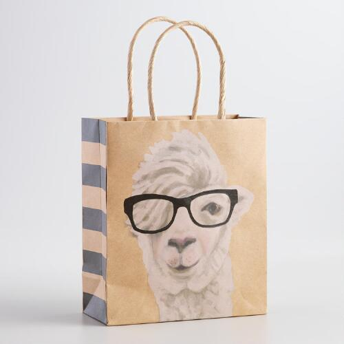 Small Llama Kraft Gift Bags, Set of 6