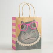 Medium Hippo Kraft Gift Bag, Set of 2