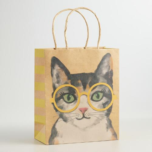 Medium Calico Kraft Gift Bags, Set of 2