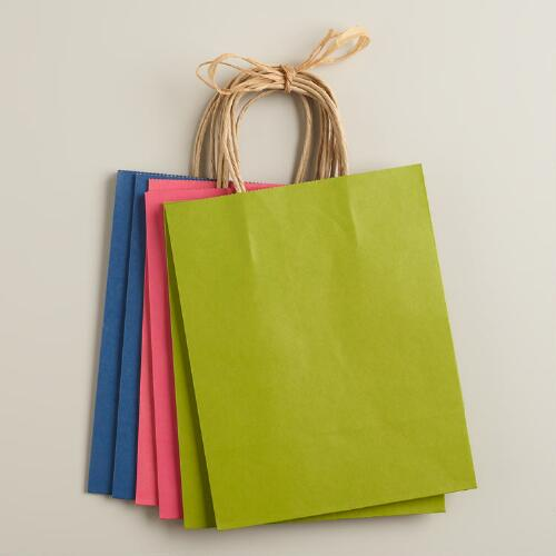 Medium Kraft Paper Gift Bags, 6-Pack