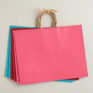 Large Kraft Paper Gift Bags, 6-Pack