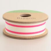 Neon Pink Ticking Stripe Ribbon
